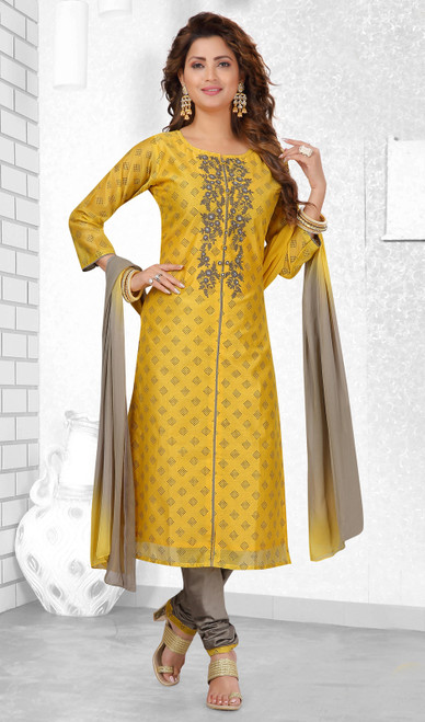 Yellow Color Chanderi Silk Embroidered Churidar Suit