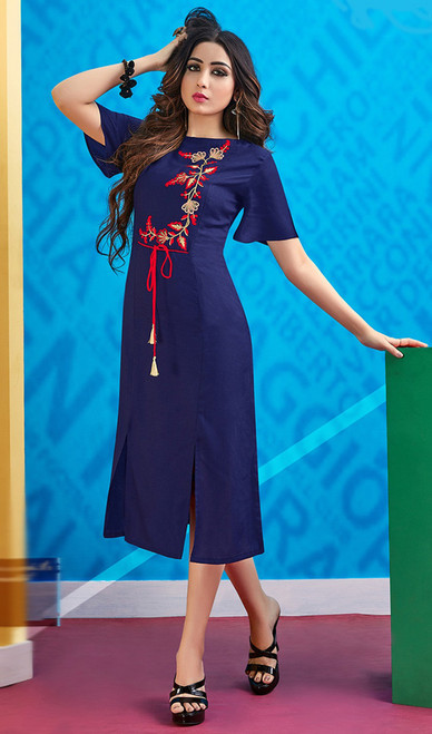 Rayon Navy Blue Color Embroidered Fancy Kurti