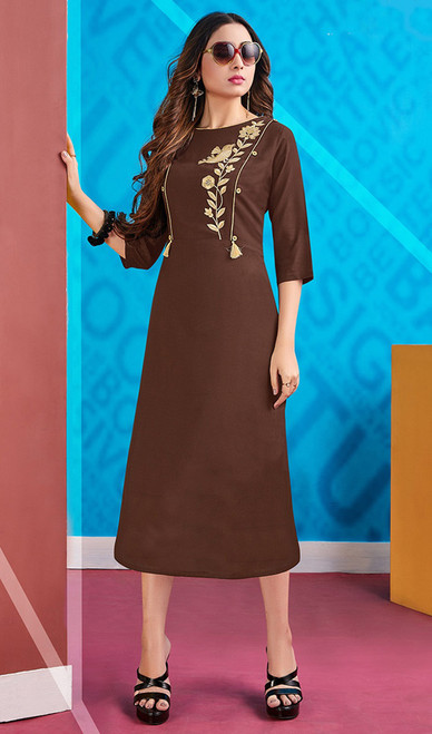 Rayon Brown Color Designer Embroidered Kurti