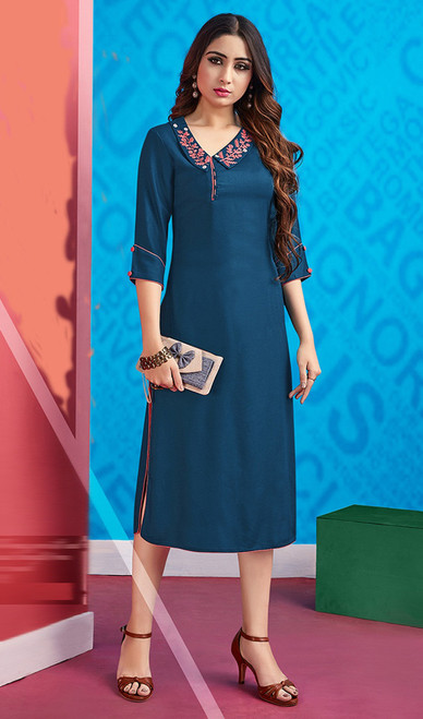 Rayon Teal Blue Color Embroidered Kurti