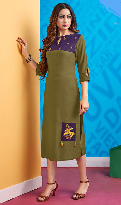 Rayon Mehendi Green Color Facny Embroidered Kurti