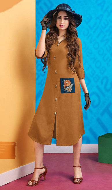 Rayon Light Brown Color Stylish Embroidered Kurti
