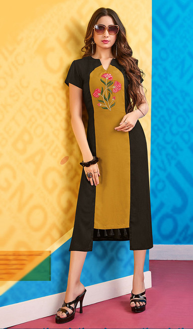 Balck and Mustard Color Rayon Embroidered Kurti