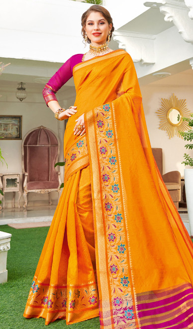 Yellow Color Handloom Silk Weaving Sari