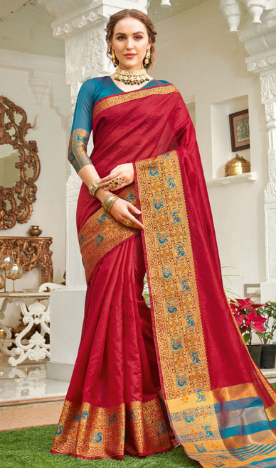 Maroon Color Handloom Silk Weaving Sari