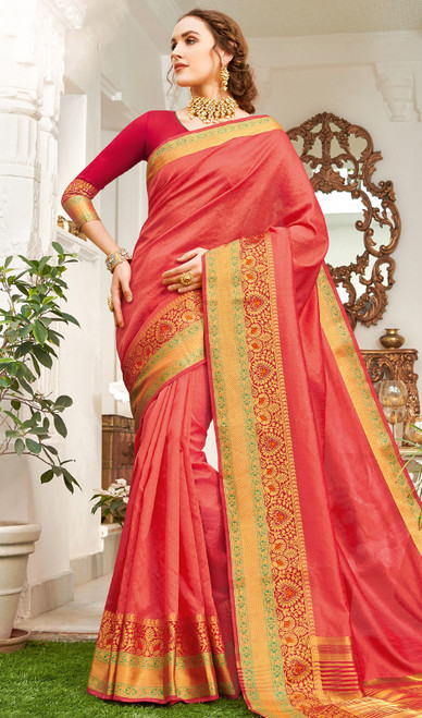 Coral Color Handloom Silk Weaving Sari