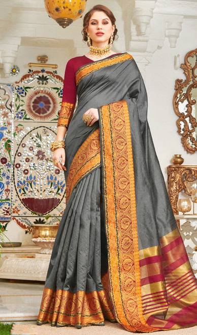 Steel Gray Color Handloom Silk Weaving Sari