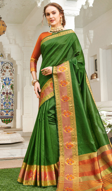 Bottle Green Color Handloom Silk Weaving Sari