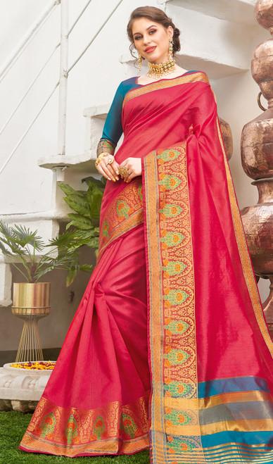 Baby Pink Color Handloom Silk Weaving Sari