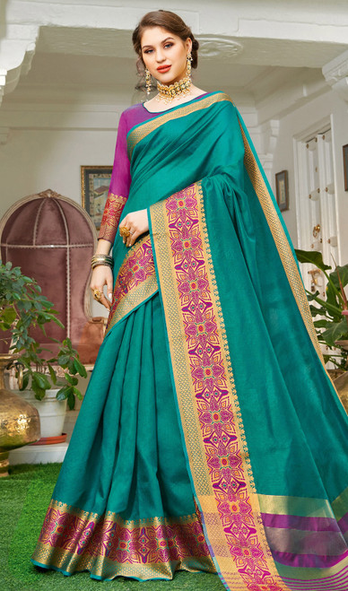 Sea Blue Color Handloom Silk Weaving Sari
