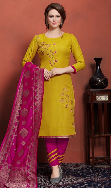 Cotton Embroidered Pant Style Suit in Yellow Color
