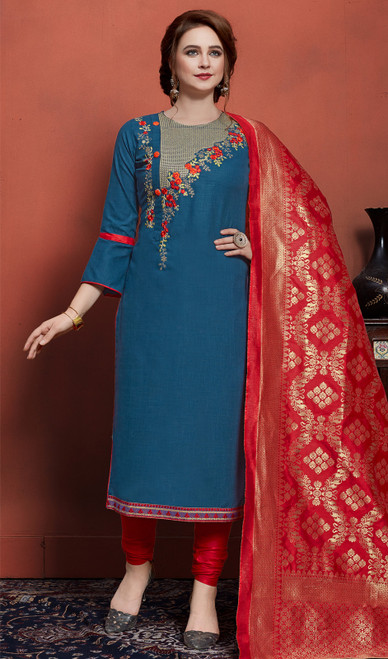 Cotton Embroidered Churidar Dress in Teal Blue Color