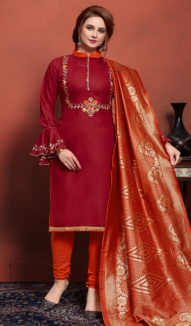 Embroidered Maroon Color Cotton Churidar Dress