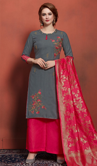 Cotton Embroidered Palazzo Suit in Dark Gray Color