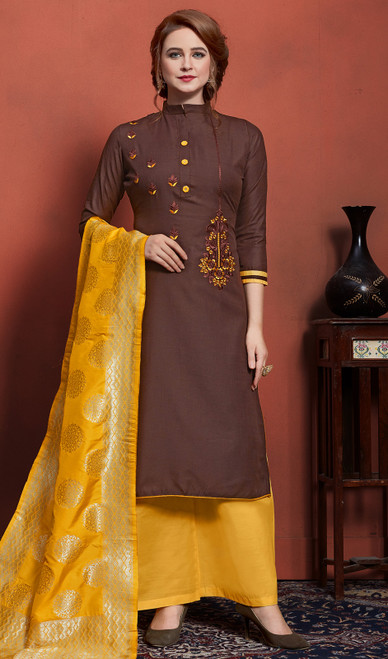 Cotton Embroidered Palazzo Suit in Brown Color
