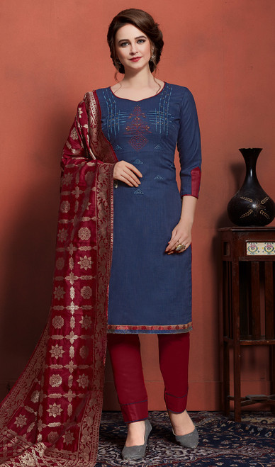 Teal Blue Color Cotton Embroidered Pant Style Suit