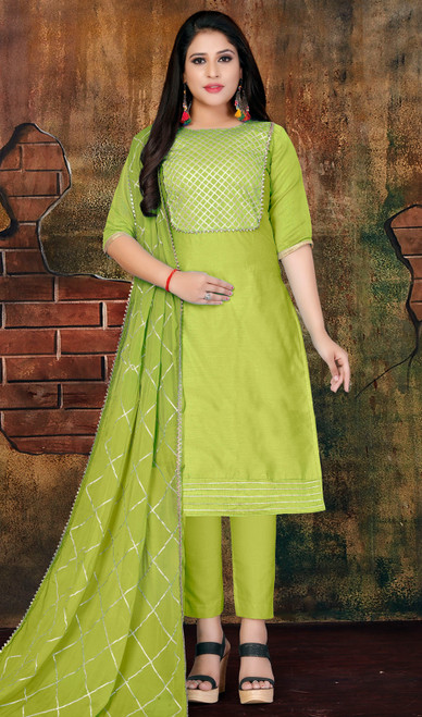 Modal Light Green Color Pant Style Dress