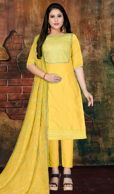 Modal Yellow Color Pant Style Suit