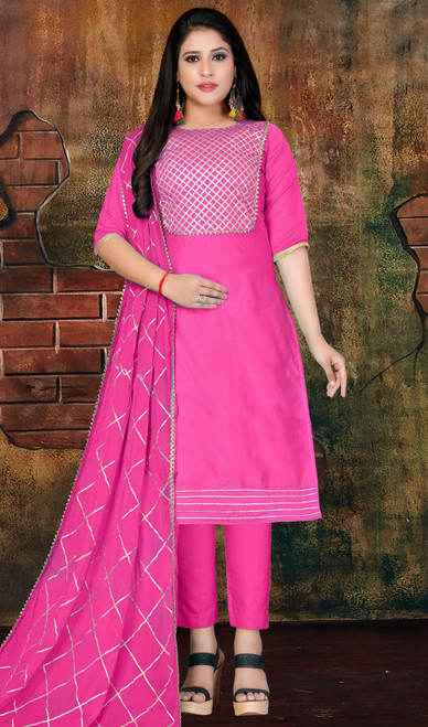 Modal Pink Color Pant Style Dress