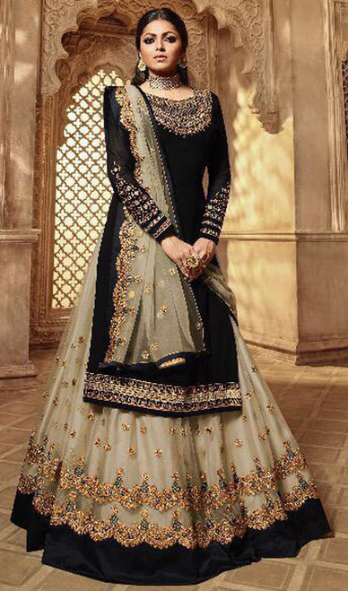 Drashti Dhami Georgette Embroidered Lehenga Suit in Balck and Beige Color