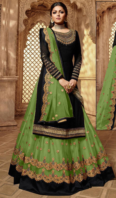 Drashti Dhami Georgette Embroidered Lehenga Suit in Balck and Parrot Green Color