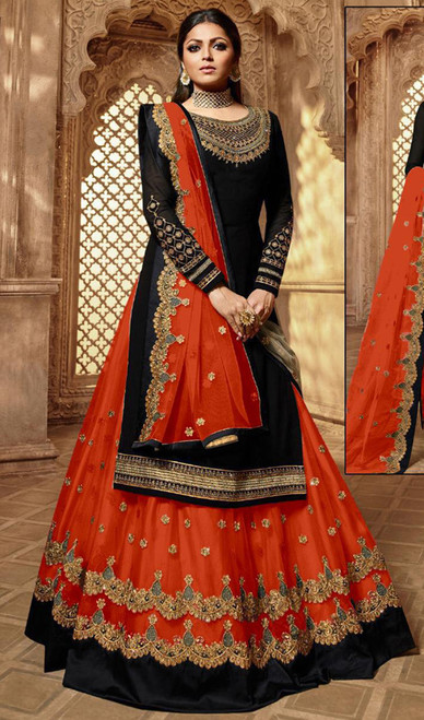 Drashti Dhami Georgette Embroidered Lehenga Suit in Balck and Orange Color