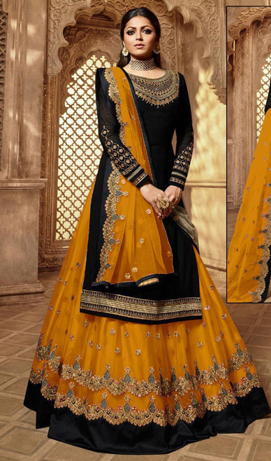 Drashti Dhami Georgette Embroidered Lehenga Suit in Balck and Turmeric Yellow Color