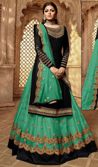 Drashti Dhami Georgette Embroidered Lehenga Suit in Balck and Pista Green Color