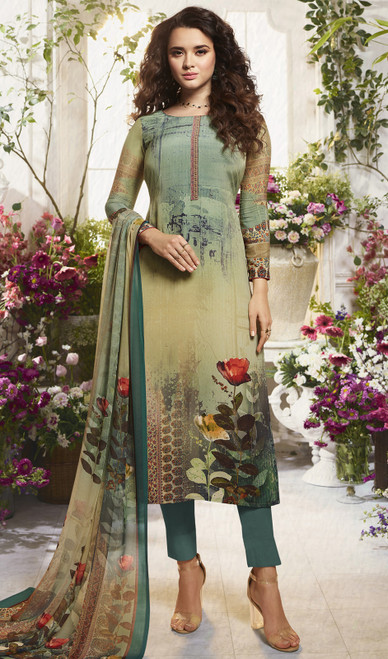 Crepe Printed Multicolor Pant Style Suit