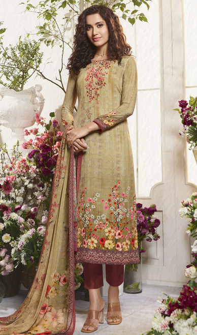 Crepe Printed Pant Style Multicolor Suit