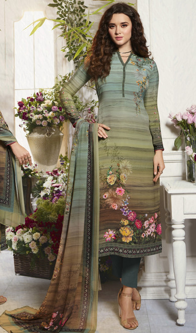 Crepe Printed Pant Style Suit in Multicolor