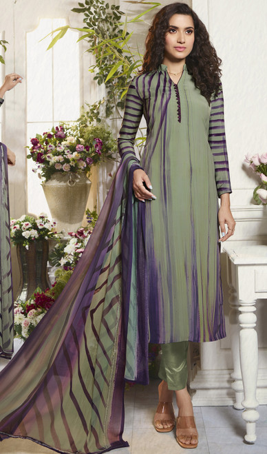 Crepe Printed Multicolor Indian Pant Style Suit