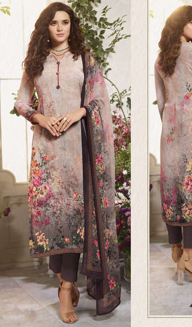 Printed Multicolor Crepe Pant Style Suit