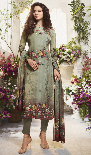 Crepe Printed Indian Pant Style Suit in Multicolor