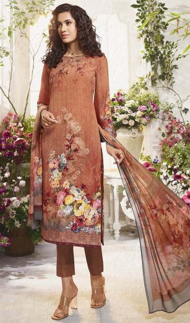 Multicolor Printed Crepe Pant Style Suit