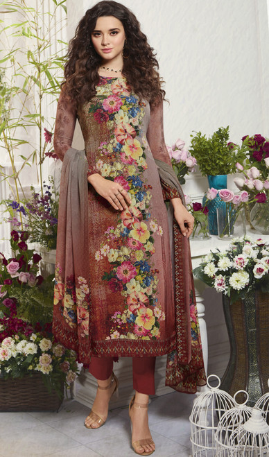 Multicolor Crepe Floral Printed Pant Style Suit