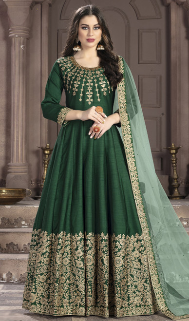 Silk Embroidered Anarkali Suit in Green Color
