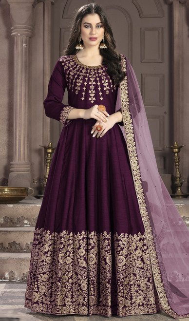 Silk Embroidered Anarkali Suit in Purple Color