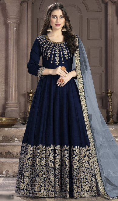 Silk Embroidered Anarkali Suit in Navy Blue Color