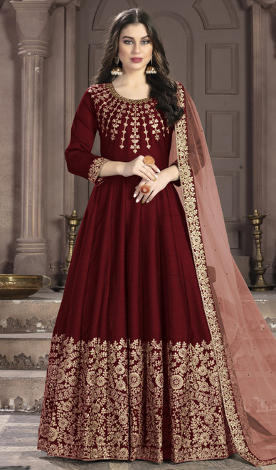 Silk Embroidered Anarkali Suit in Maroon Color