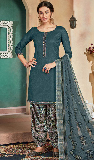 Cotton Printed Patiala Suit in Steel Gray Color