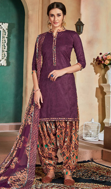Cotton Printed Patiala Suit in Purple Color