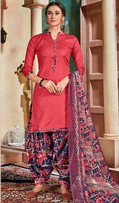 Cotton Printed Patiala Suit in Coral Color