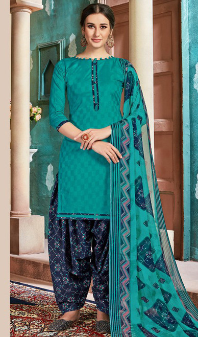 Cotton Printed Patiala Suit in Turquoise Color
