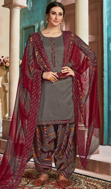 Cotton Printed Patiala Suit in Dark Gray Color