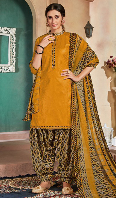 Cotton Printed Patiala Suit in Turmeric Yellow Color