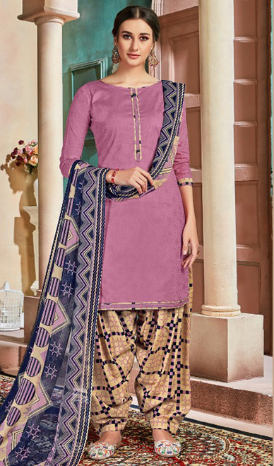 Cotton Printed Patiala Suit in Baby Pink Color