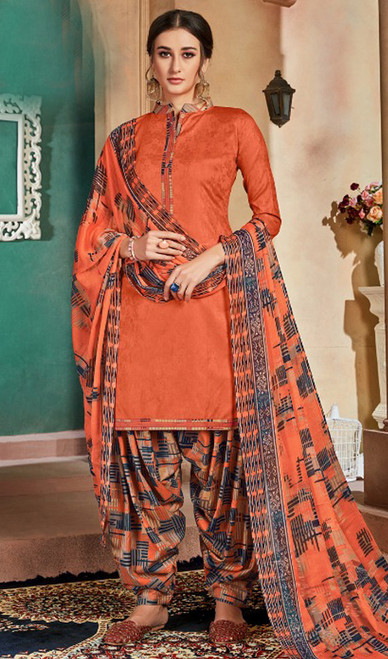 Cotton Printed Patiala Suit in Orange Color