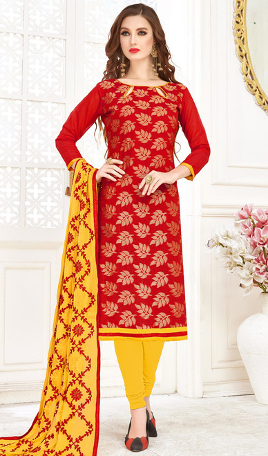 Banarasi Jacquard Churidar Suit in Red and Yellow Color