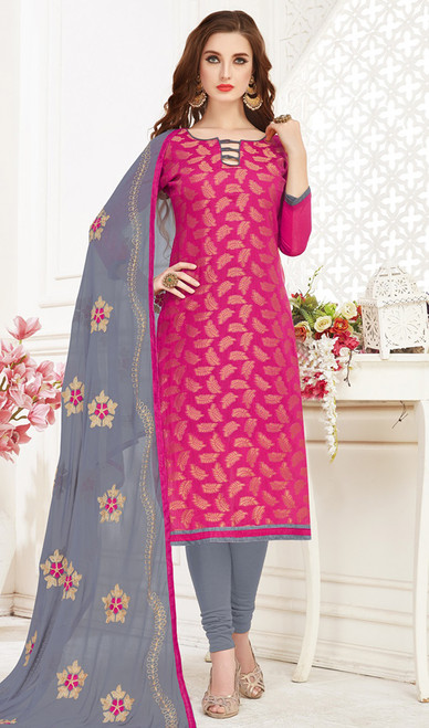 Banarasi Jacquard Churidar Suit in Pink and Gray Color
